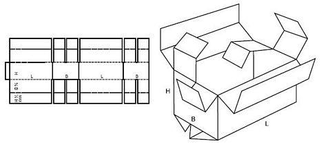 Katalog FEFCO - wzór opakowania nr 208